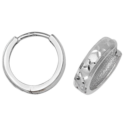 9K White Gold Hinged Dc Earrings