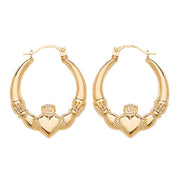 9K Yellow Gold Claddagh Creole Earrings