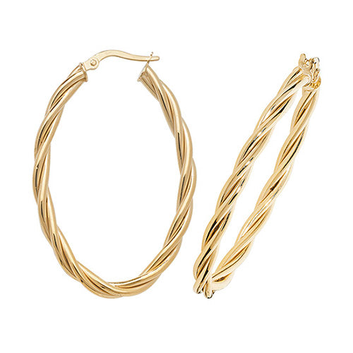 9K Yellow Gold Ovl Hoop Earrings