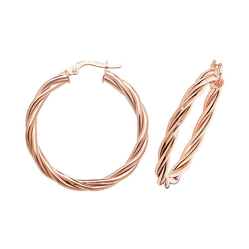 9K Rose Gold 25mm Hoop Earrings