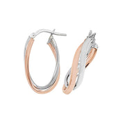 9K Rose / White Gold Ovl Hoop Earrings