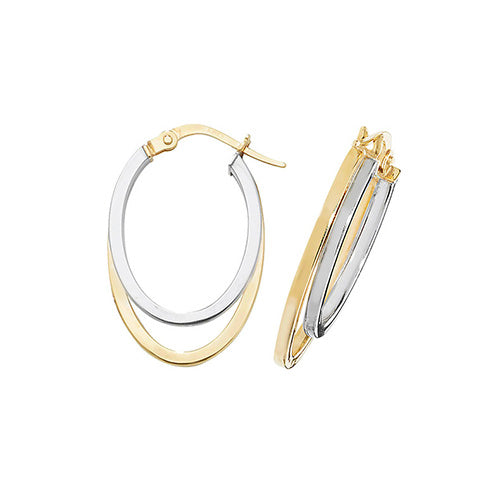 9K Yel / White Gold Ovl Dbl Hoop Earrings