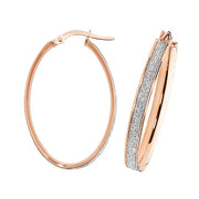 9K Rose Gold Oval Hoop Earrings