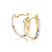 9K Yel / White Gold Ovl Hoop Earrings