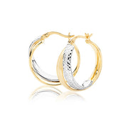 9K Yel / White Gold 18mm Dc Hoop Earrings