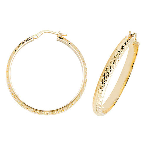 9K Yellow Gold 30mm Dc Hoop Earrings