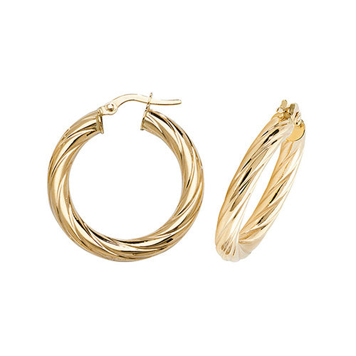 9K Yellow Gold 20mm Hoop Earrings
