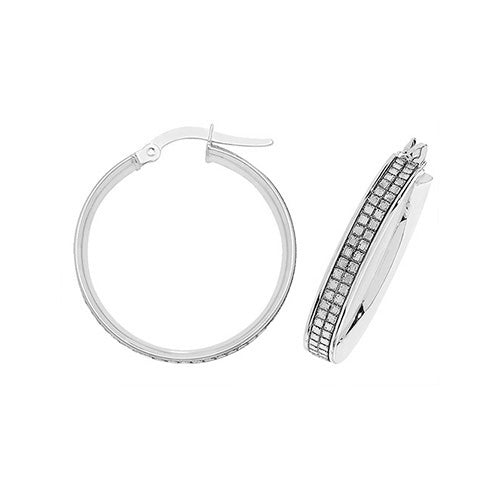 9K White Gold 20mm Hoop Earrings