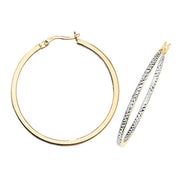 9K Yel / White Gold 30mm Dc Hoop Earrings