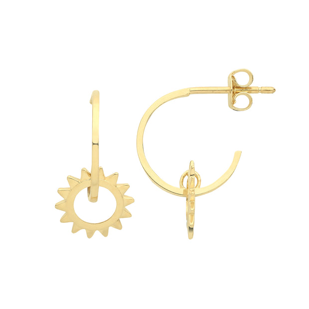 9K Yellow Gold Sun Drop Earrings