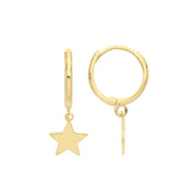 9K Yellow Gold Star Charm Drop Earrings