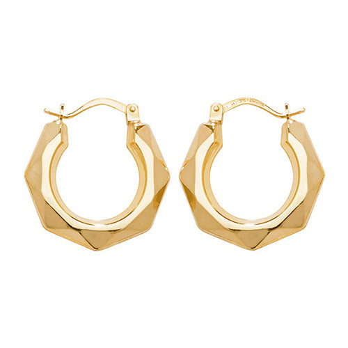 9K Yellow Gold 12mm Creole Earrings