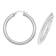 9K White Gold 25mm Hoop Earrings