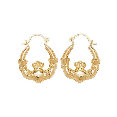 9K Yellow Gold Babies' Claddagh Earrings