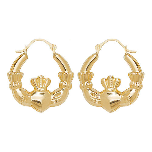 9K Yellow Gold Claddagh Earrings