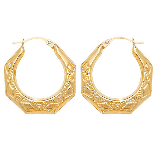 9K Yellow Gold 15mm Creole Earrings