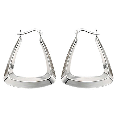 9K White Gold Creole Earrings