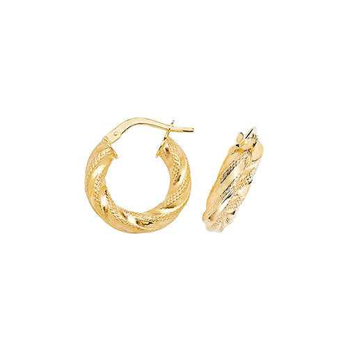 9K Yellow Gold 10mm Dc Hoop Earrings