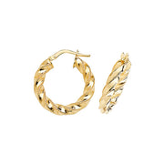 9K Yellow Gold 15mm Dc Hoop Earrings