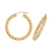 9K Yellow Gold 25mm Dc Hoop Earrings