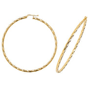 9K Yellow Gold 50mm Dc Hoop Earrings