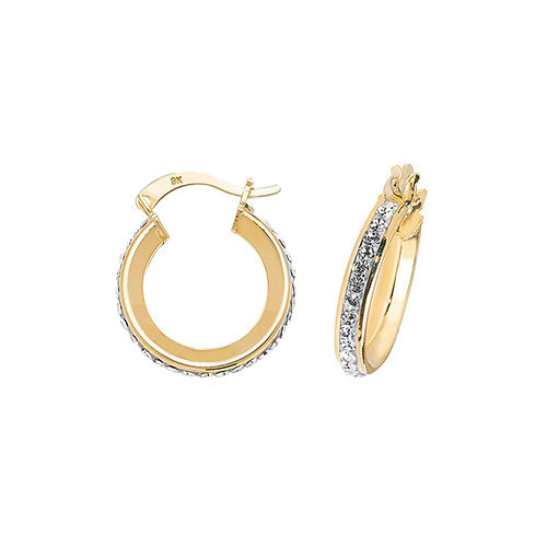 9K Yellow Gold 10mm Crystal Hoop Earrings