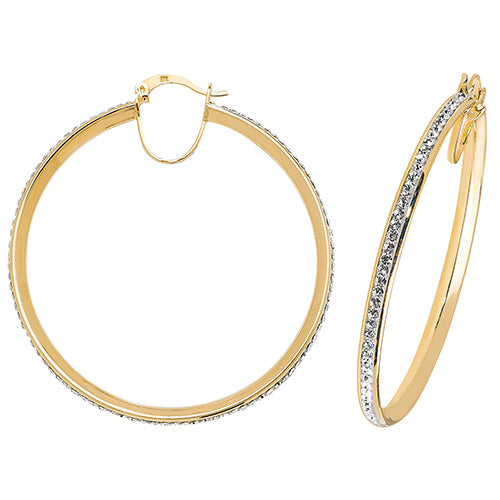 9K Yellow Gold 40mm Crystal Hoop Earrings