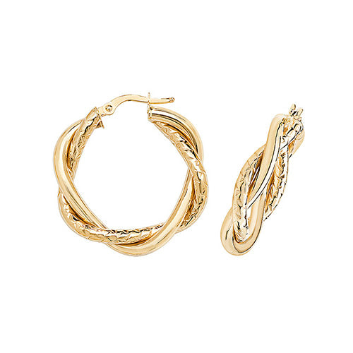 9K Yellow Gold 20mm Dc Hoop Earrings