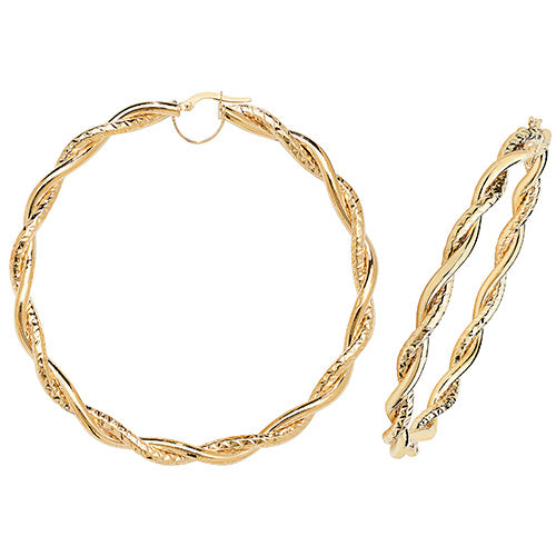 9K Yellow Gold 60mm Dc Hoop Earrings