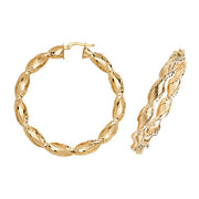 9K Yellow Gold 40mm Dc Hoop Earrings