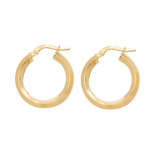 9K Yellow Gold 15mm Hoop Earrings