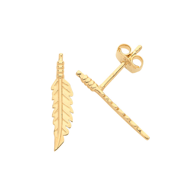 9K Gold Feather Stud Earrings