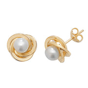 9K Yellow Gold Pearl Orbital Stud Earrings