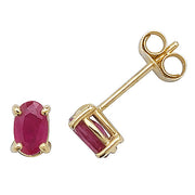 9K Yellow Gold Ruby Stud Earrings