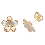 9K Tricolour Flower Gold Stud Earrings