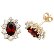 9K Yellow Gold Garnet Stud Earrings