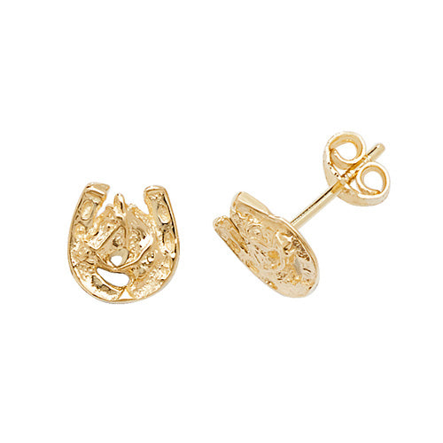 9K Yellow Gold Horse Shoe Stud Earrings