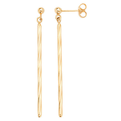 9K Yellow Gold Twisted Bar Drop Earrings