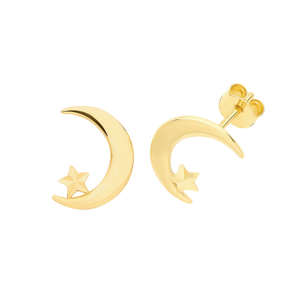 9K Yellow Gold Moon & Star Moon Studs
