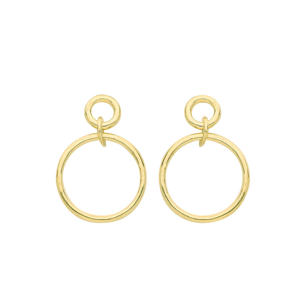 9K Yellow Gold Circle Drop Earrings