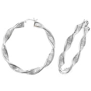 Silver 40mm Moondust Hoop Earrings