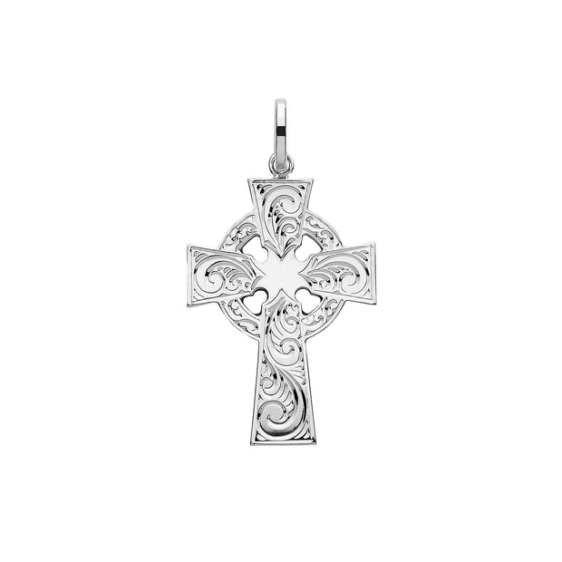 Silver Solid Cross H Engraved