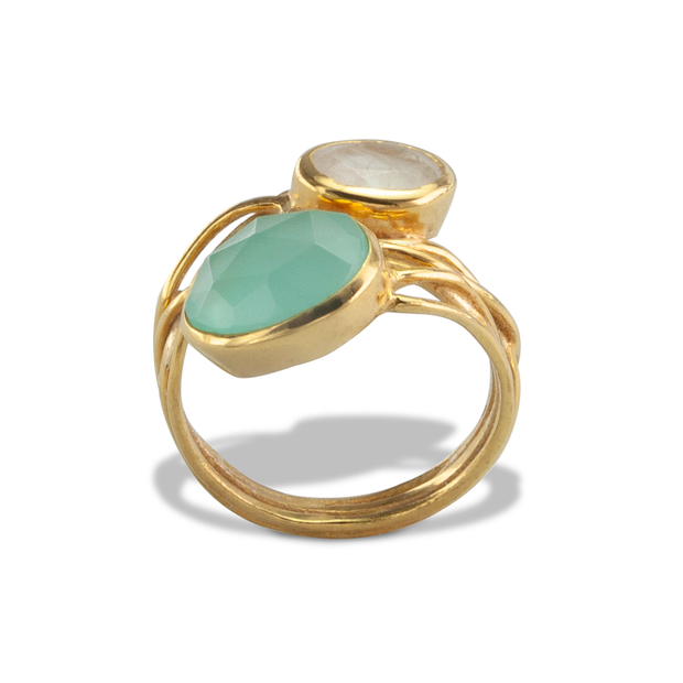 Aqua calci  Ring in Vermeil 3.68ct