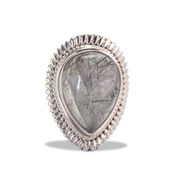 Tourmalinated Quartz Ring in Sterl.Silver 17ct