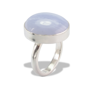 Blue Lace Agate Ring in Sterl.Silver 18.36ct