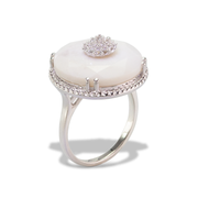 White Agate Ring in Sterl.Silver 8.19ct