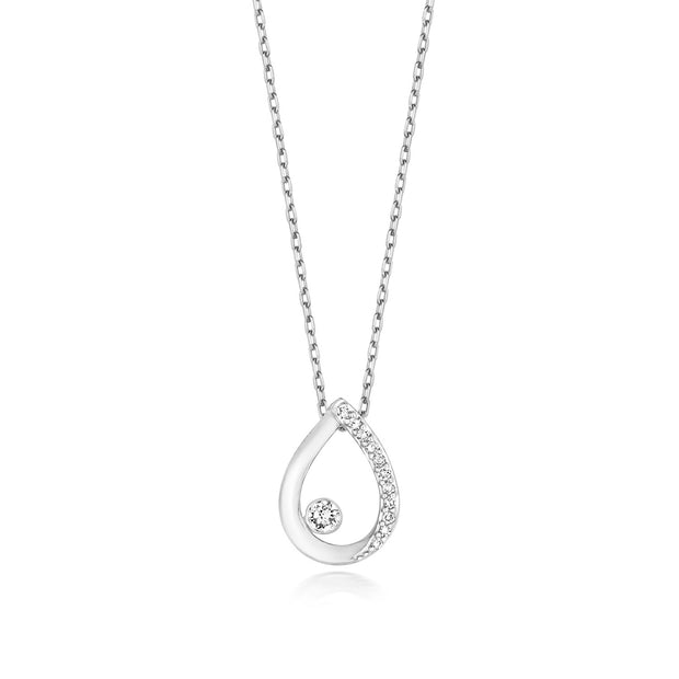 0.06ct Diamond Necklace in 9K White Gold