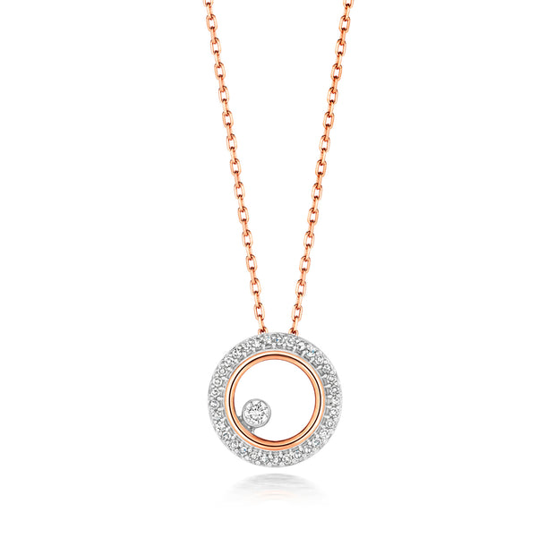 0.08ct Diamond Necklace in 9K Rose Gold