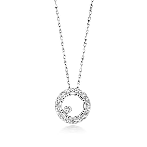 Diamond Necklace in 9K White Gold