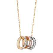 9K Yellow Gold Ladies' E Col Rings 18 Inch Necklace